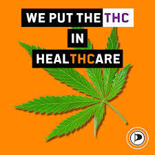 Hanfblatt mit dem Text: We put the THC in the Healthcare. Und dem Logo der Piratenpartei,