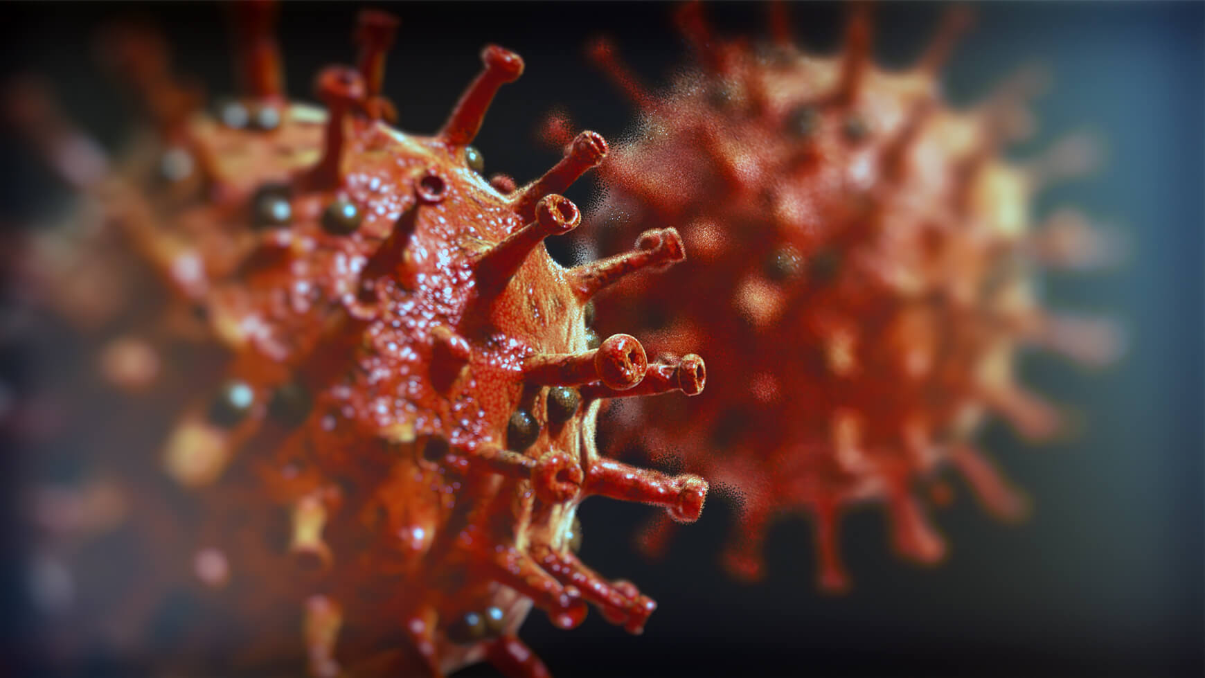 Stilisiertes Corona-Virus in 4D-Optik
